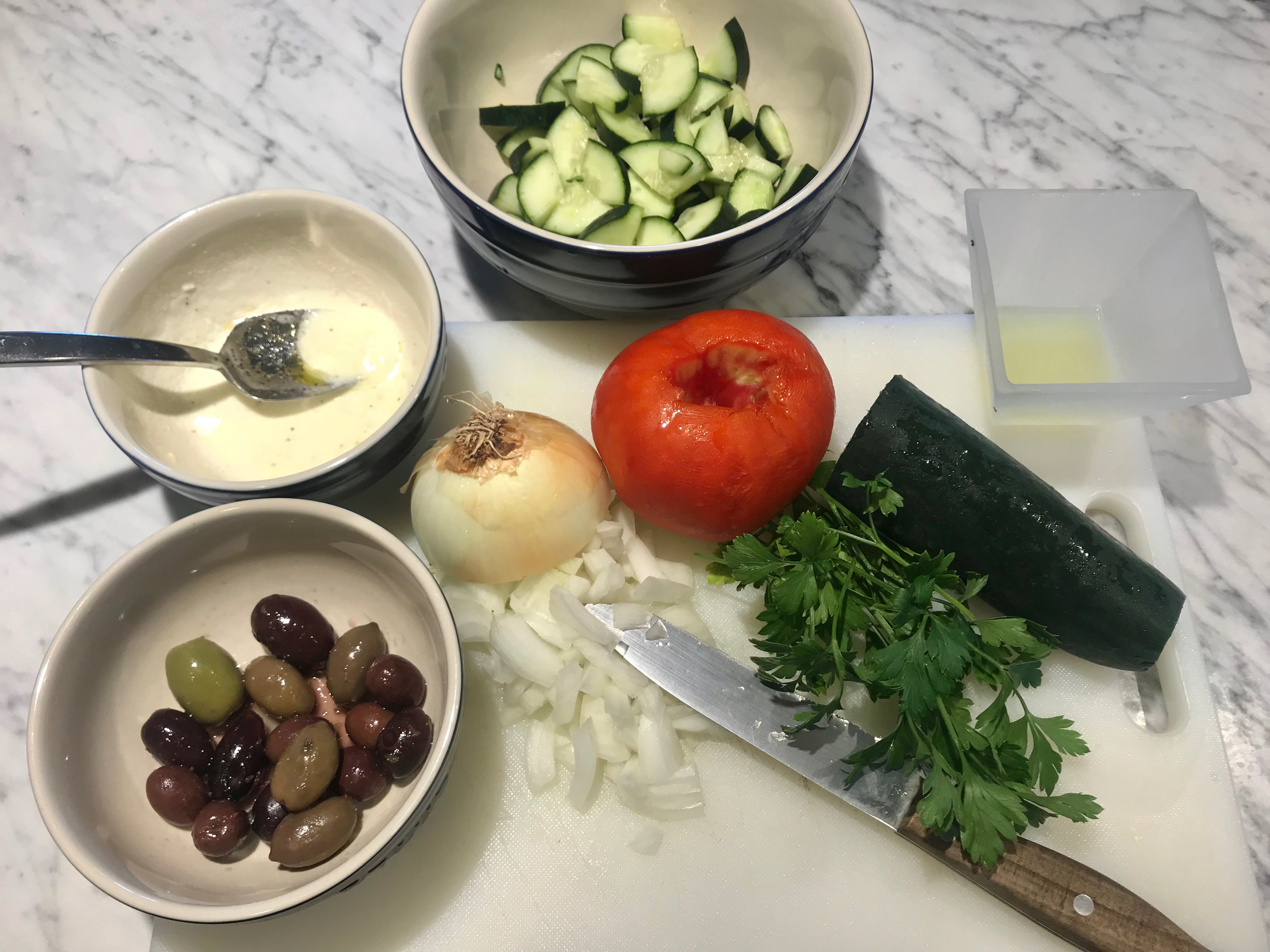 ingredients for Greek Salad recipe by Chef Elysabeth Alfano
