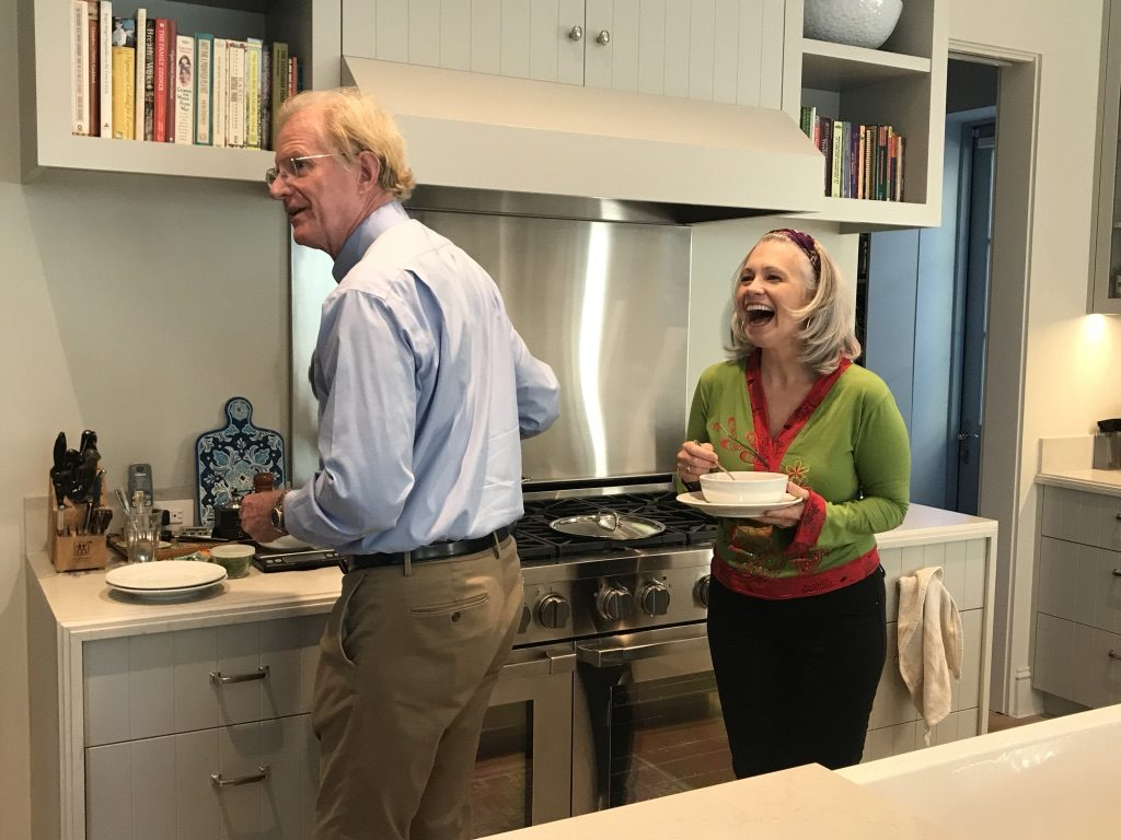 Elysabeth Alfano and Ed Begley Jr. in his Home