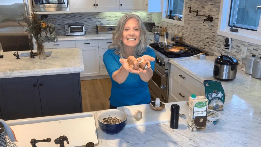 Elysabeth Alfano Making Mushroom Risotto